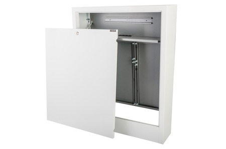 Surface mounted manifold cabinets with space for a control strip