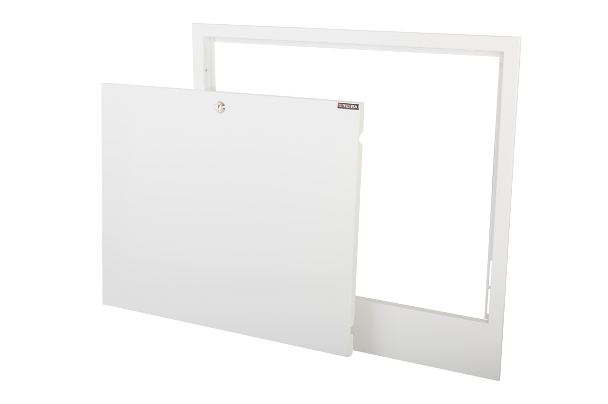 Door with a frame for built-in recesses