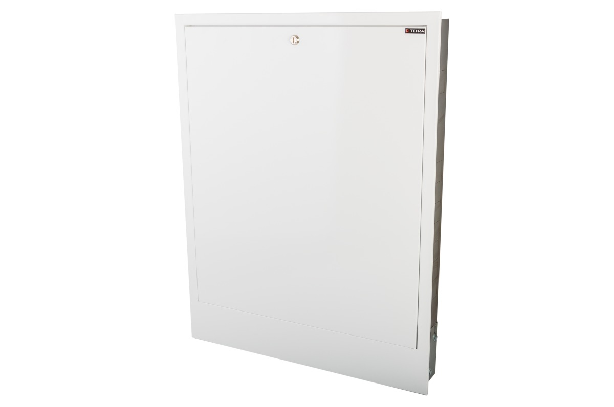 Flush-mounted manifold cabinets with space for a control strip
